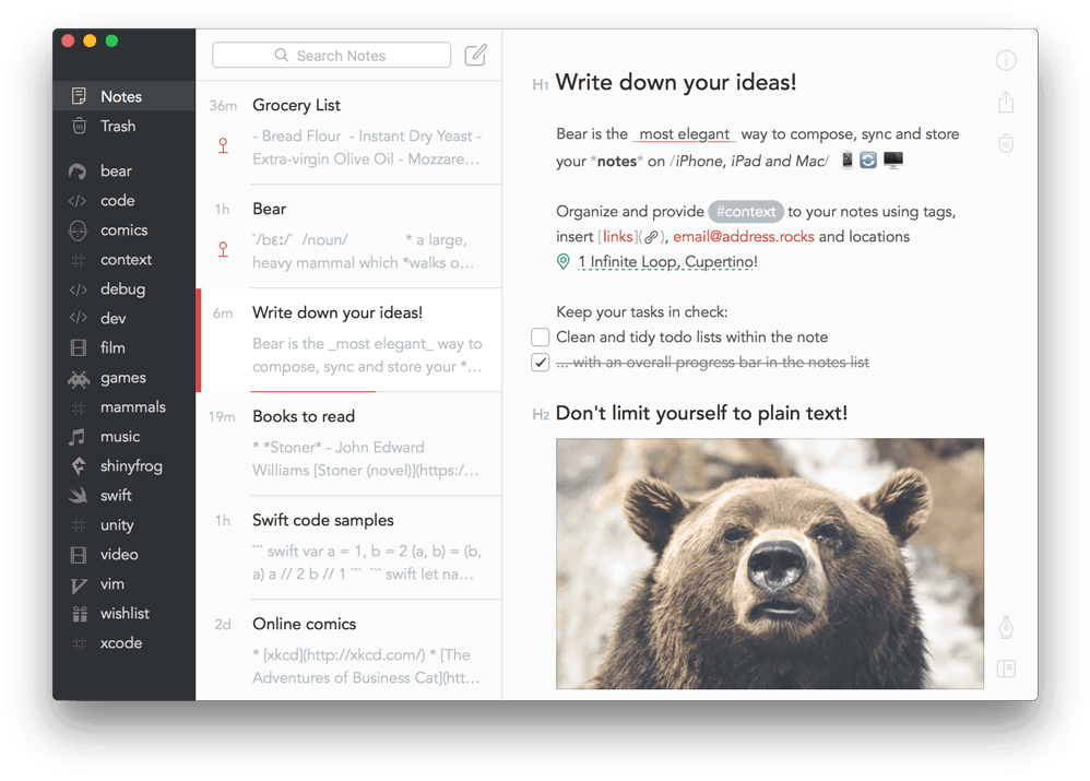 Bear.app - screenshot
